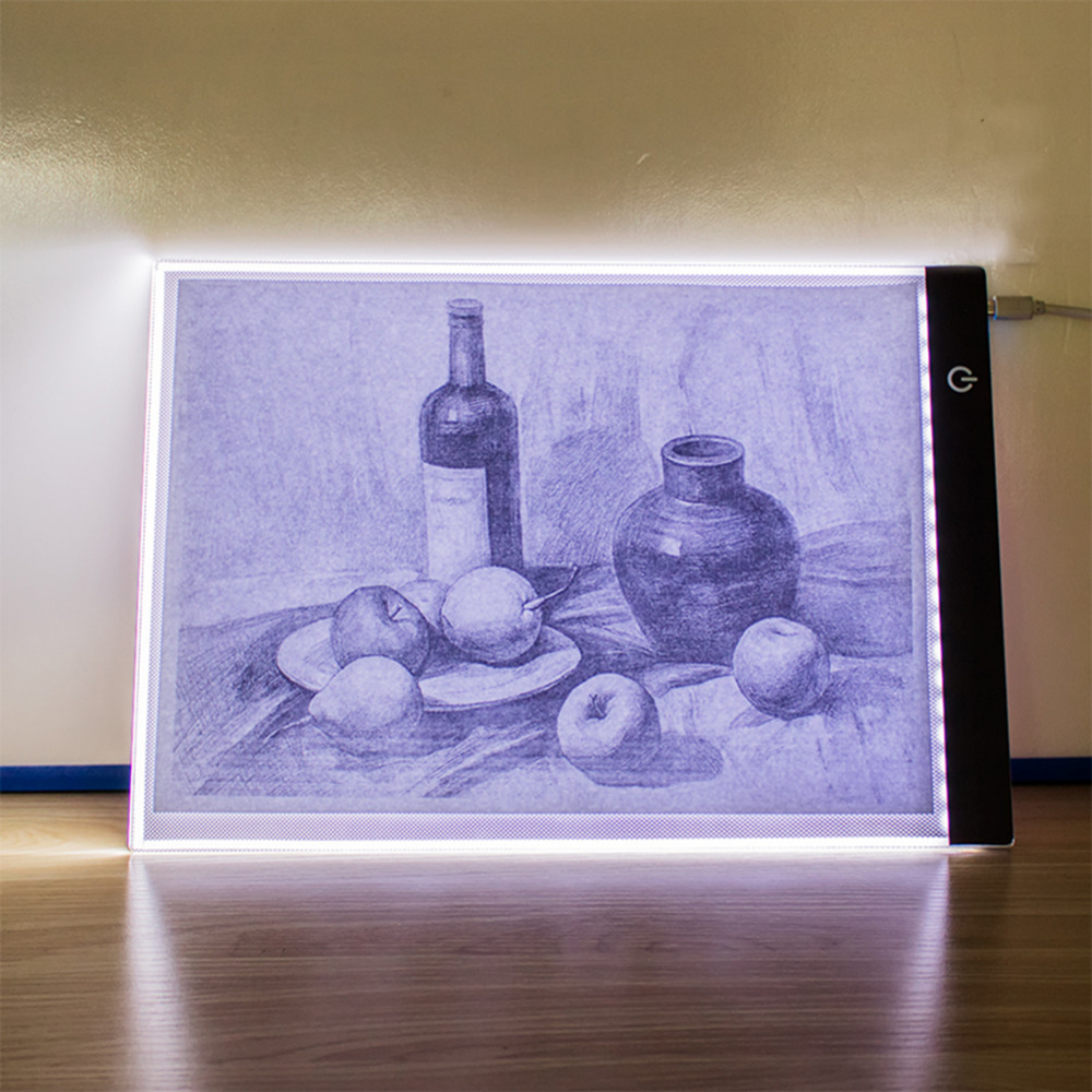 Ultra Thin USB <font><b>LED</b></font> <font><b>Light</b></font> Painting Copy <font><b>Pad</b></font> Tablet <font><b>A4</b></font> Paper Art Kids Drawing Tracing Stencil Board Plate <font><b>Dimmable</b></font> image