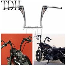 """Barras de arrastre de 12 """"Rise 1 1/4"""" de ancho, manillar elevado tipo manillar para motocicleta, color negro cromado, APE Hanger para barra gruesa para Harley Sportster Touring Dyna FLST FXST"""
