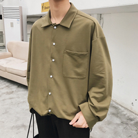 2018 summer new Japanese basic solid color long sleeved men's shirt loose cotton casual gray / black/military green M XL