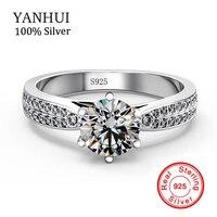 YANHUI Original Solid 925 Sterling Silver Rings Jewelry Luxury 2 Carat Zircon CZ Stones Engagement Wedding
