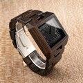 Роскошные Брендовые мужские часы BOBO BIRD с деревянным кварцем  прямоугольные часы с деревянным ремешком  наручные часы relogio masculino B-L23