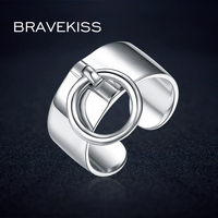BRAVELISS Pure 925 Sterling Silver Adjustable Rings For Women Round Circle Charm Dangle Ring Pendant Wide