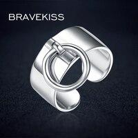 BRAVEKISS Reine 925 Sterling Silber Justierbare Ringe Für Frauen Runde Kreis Charme Baumeln Ring Anhänger Breite Ring Band BLR0323