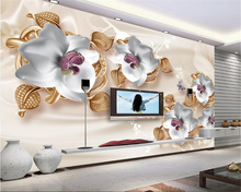 beibehang High quality fashion aesthetic waterproof papel de parede 3d wallpaper luxury 3D jewelry flowers TV background wall