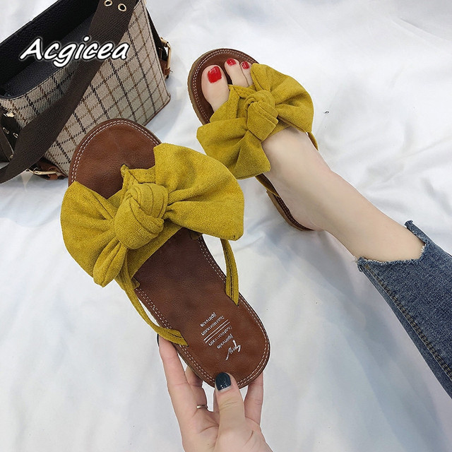 34d856d2a 2018 summer Women flat Slides cozy Sandals New Korean Wild Flat Bow  Flip-Flops Women Fashion Wear Flip female sandals mujer a025