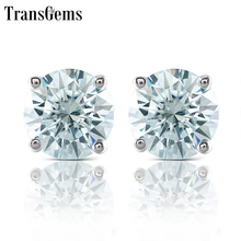 Transgems Slight Blue Moissanite Stud Earrings Platinum Plated Silver Push Back for Women Fine Jewelry 10K White Gold Post