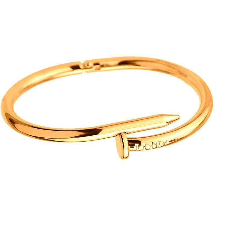 พังก์ร็อกสไตล์ทอง-สีสีเงินRose G Oldสีเล็บRhinestoneสร้อยข้อมือสำหรับผู้หญิงอุปกรณ์เสริม