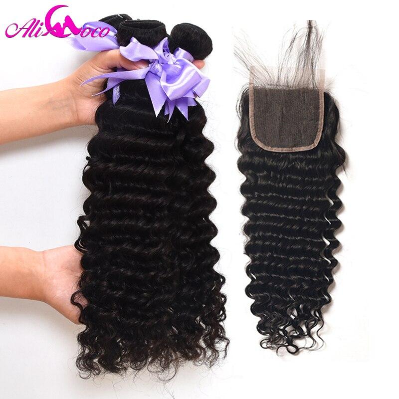 Али Коко бразильский глубокая волна Связки с закрытием 3 Связки и закрытие 100% человеческих волос с закрытием Волосы remy расширения