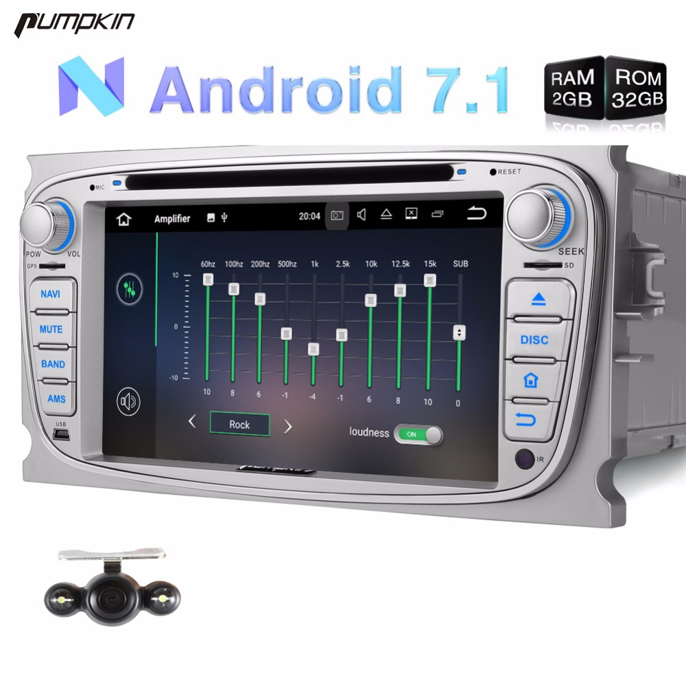 Wholesale! 2 Din 7'' Android 7.1 Car DVD Player For Ford Mondeo/Focus GPS Navigation DAB+ Car Stereo Wifi FM Rds Radio Headunit