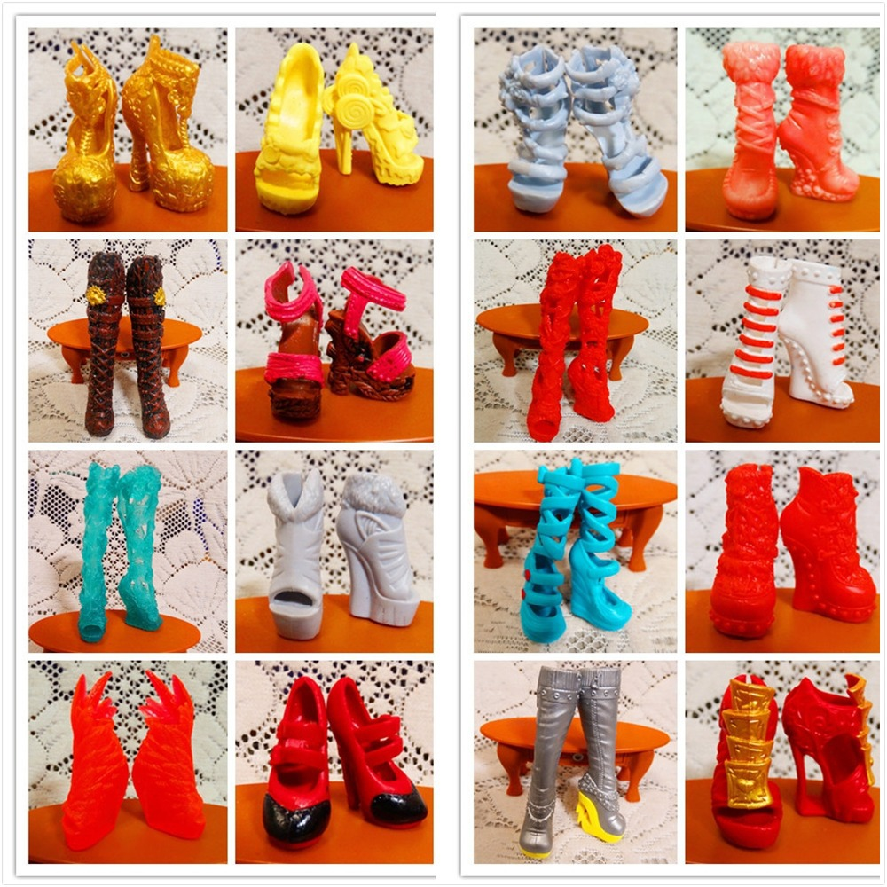 AILAIKI SALE 10Pairs Lot Toy Fashion Shoes For Monster font b Dolls b font Beautiful High