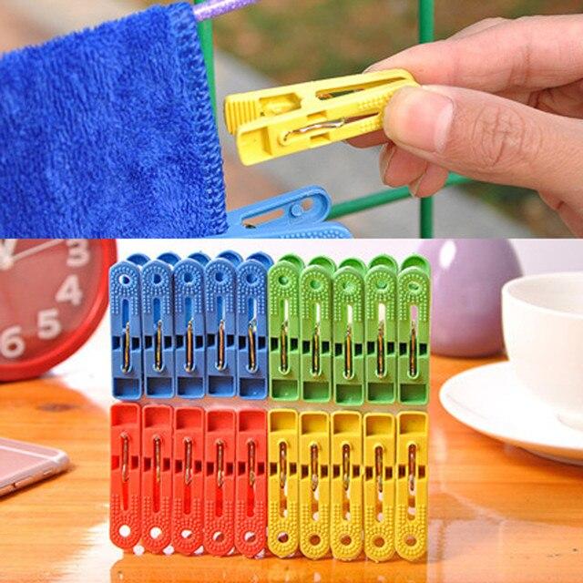 20 cái/lốc Giặt Quần Áo Pins Nhà Nhựa Móc Treo Racks Kẹp Kẹp Áo Chăn Quần Áo Clip Clip Treo Pegs Clips Windproof