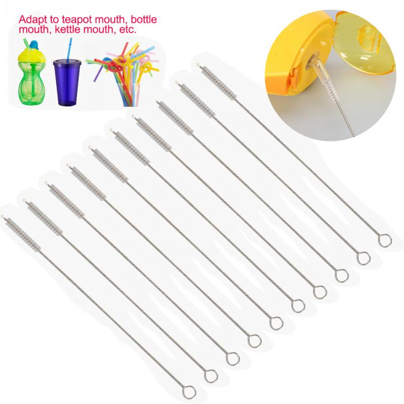 10pcs Rustless Baby Home Straw Brush Stainless Steel Healthful Safe