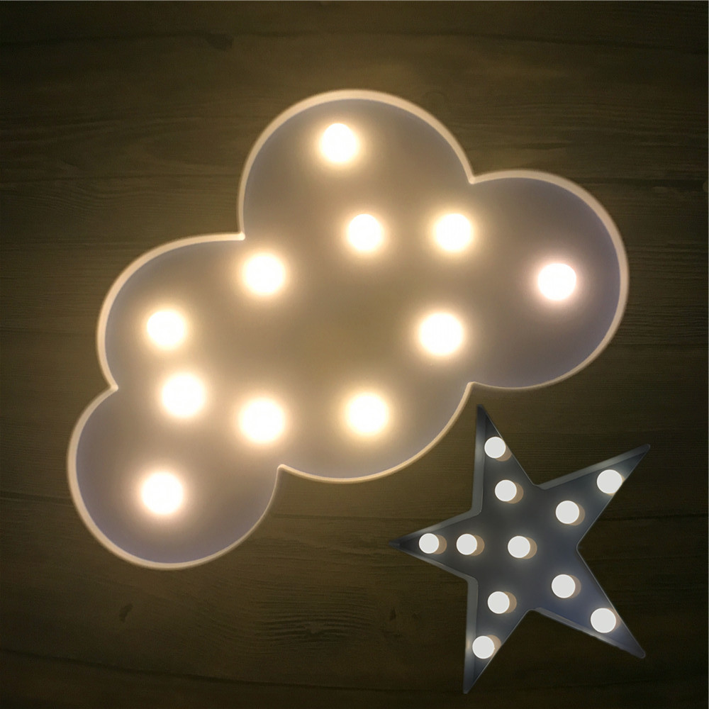 Novelty LED Star Cloud Night Light Kid Bedroom Sleeping Warm White Table Lamp Christmas Party Wedding Home Decor Children Gifts romantic heart star cloud lamps 3d led table night light battery operated home indoor bedroom party decoration kids gifts
