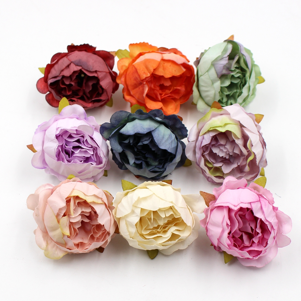 5pcs/lot 5cm Peony Head Silk Artificial Flower Wedding Decoration DIY Garland Scrapbook Gift Box Flower ...