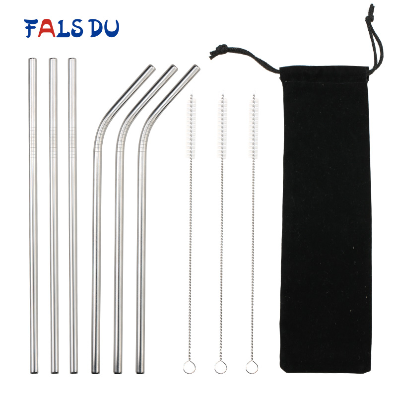 6Pcs Resuable Stainless Steel Drinking Straws Straight Bent Metal Straw Set For Mugs Party Bar Accessories