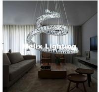 Newly Stainless Steel D69cm LED 92W Modern European K9 Clear Crystal Pendant Light Hotel Hall Living Room Dining Room AC Light