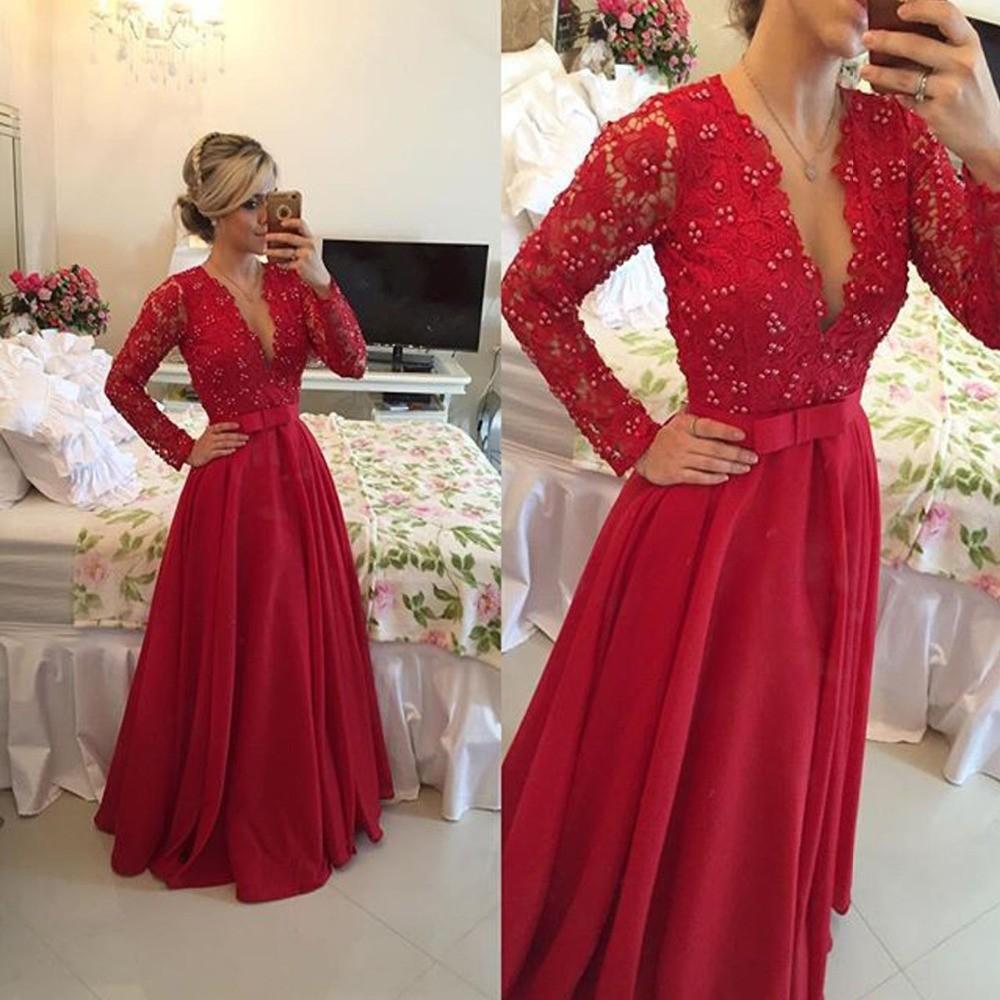 Fabulous-Long-Sleeve-Lace-Top-Red-Chiffon-Sexy-Prom-Dresses-Vestido-De-Festa-Longo-Cheap-Sheer (2)