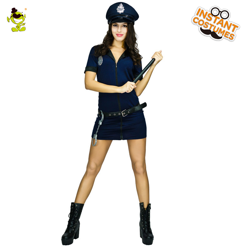 2018 Adult Deluxe Policewoman Costume Carnival Role Play -1684