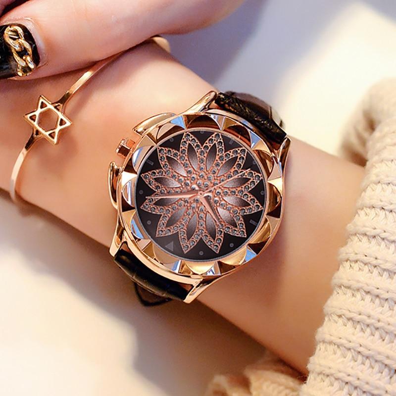 Luxury Flower Dial Watches Women Fashion Ladies Leather Quartz Waches Wristwatches Female Clock Relogio Feminino Bayan Kol Saati