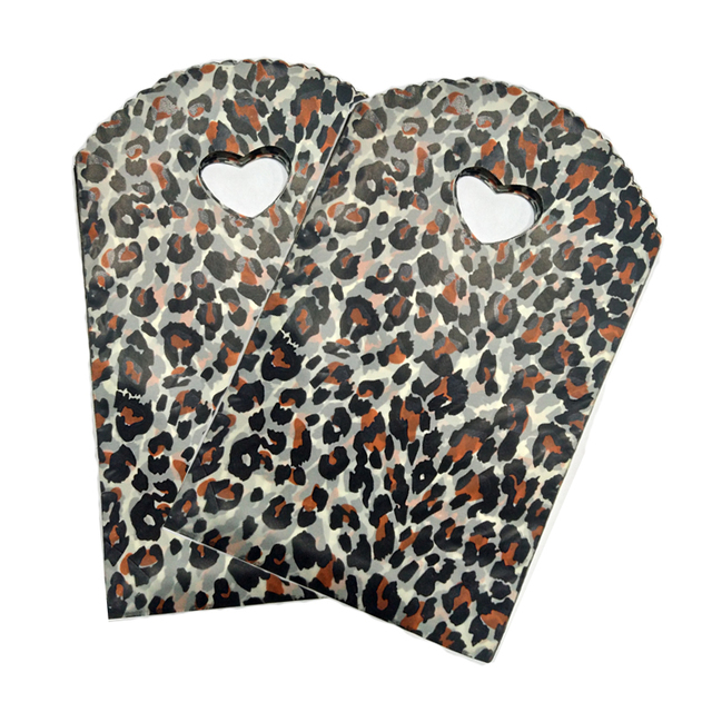 Free Shipping 100pcs Lot Leopard Print Plastic Bags 13x21cm Small Candy Gift Jewelry Packaging