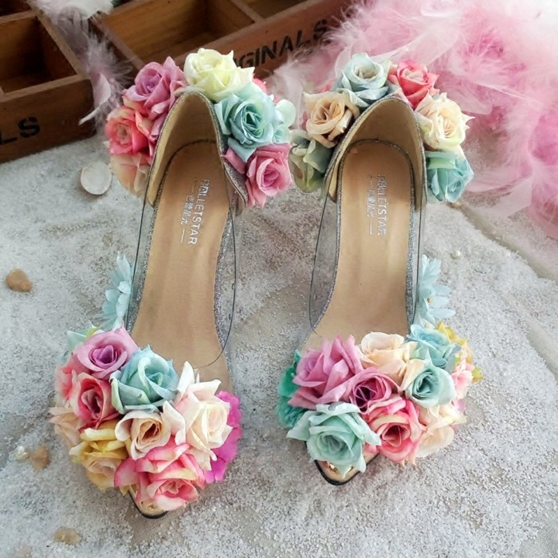 ФОТО Sweet Rose Flower Clear Sandals Girl Pointed Toe High Heel Shoes Bridal Forest Fresh Flower High Heel Sandals Hand Made