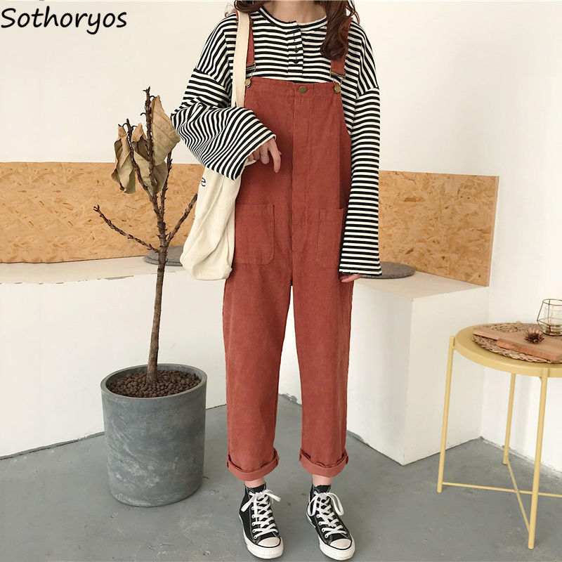 Jumpsuits   Womens Korean Style All-match Retro Loose Students Trousers Simple Pockets Casual Newest Fashion Strap Women   Jumpsuit