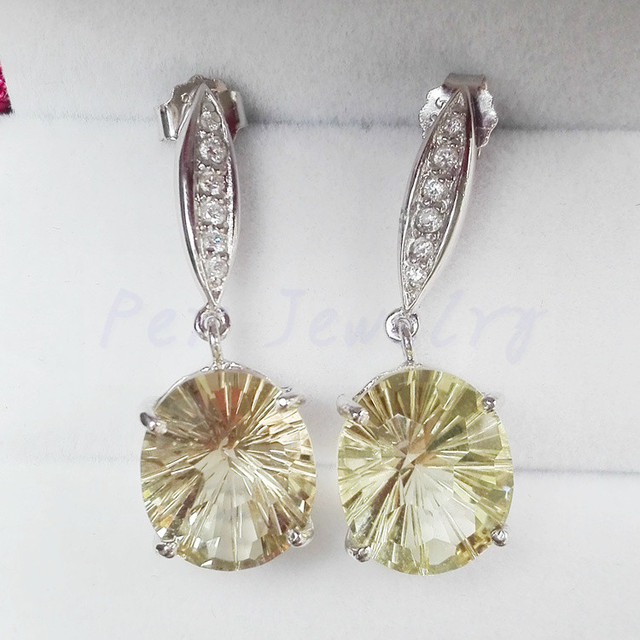 Lemon Quartz Earring Free Shipping Drop Earrings Natural Real 925 Sterling Silver 4 5ct