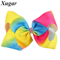 8'' Princess Girls' Boutique Rainbows with Clip Colorful Grosgrain Ribbon Large Hair Bow for Sweet Children Hair Accessories