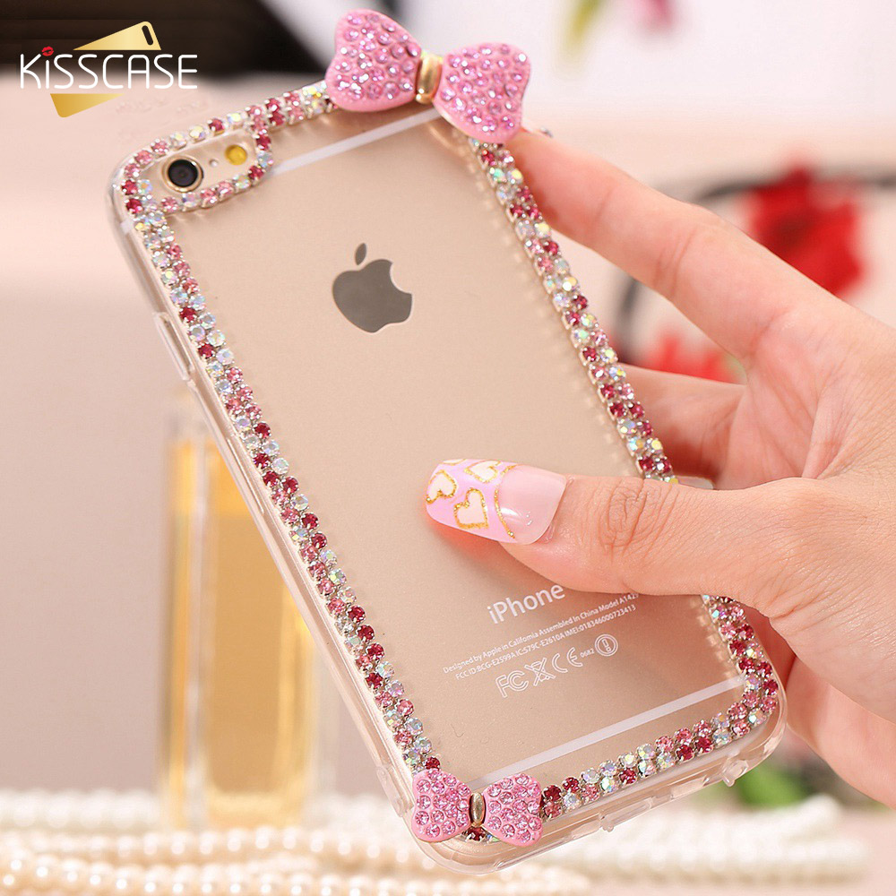 KISSCASE Glitter Crystal Case For iPhone 7 6 6s Plus Girly Transparent Etui PC Cases For Samsung Galaxy S5 S6 Edge Note 4 Cover