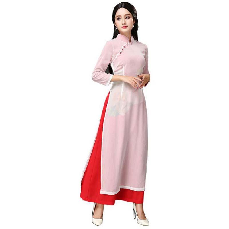 3xl Longue Spectacle Vintage b Qipao Vietnam Pc Mandarin Ensembles g Aodai C Col j Plus Sexy k d Dames Dame f Robe a Femmes h Mince Cheongsam e 2 l i Chinois q8vUnn