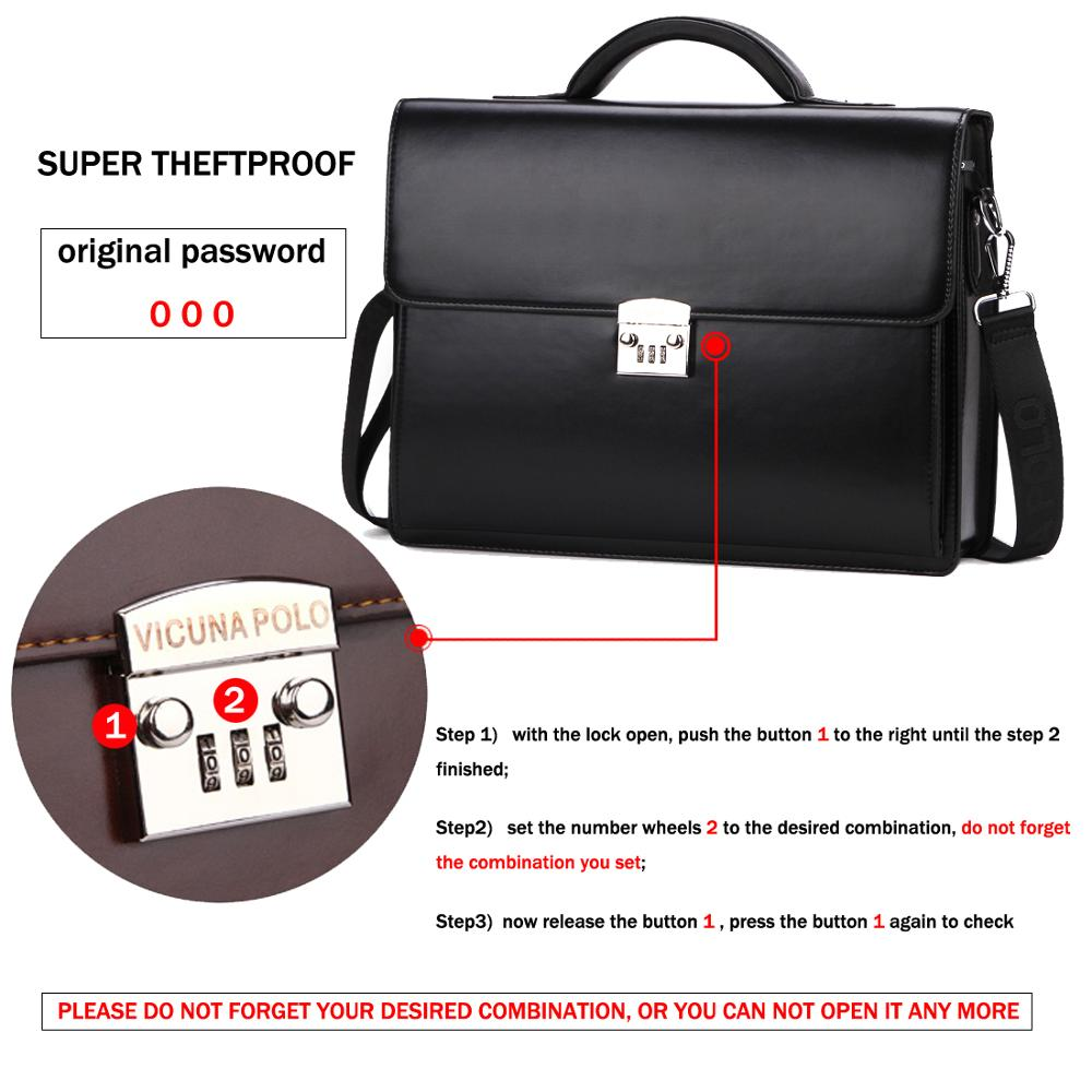 Image 4 - VICUNA POLO Luxury Business Mens Briefcase With Code Lock High Quality OL Business Man Bag Italy Brand pasta executiva masculino-in Briefcases from Luggage & Bags