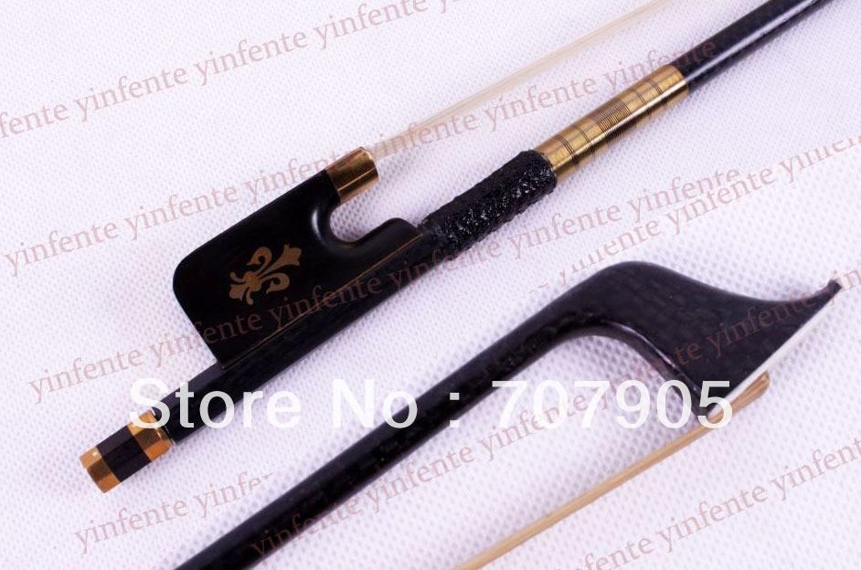 4/4 Cello Bow Black Carbon fiber Round Stick Ebony frog Flower Pattern  3 4 cello bow carbon fiber round stick ebony fro g high quality new dt 041