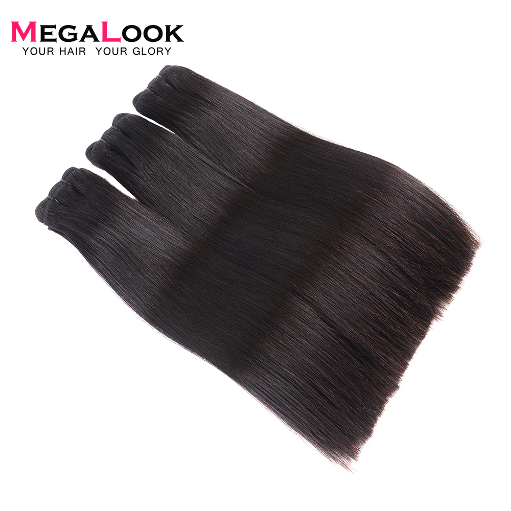 Megalook Malaysian Virgin Hair Straight Human Hair Bundles Double Drawn 100g pcs Unprocessed Natural Black and