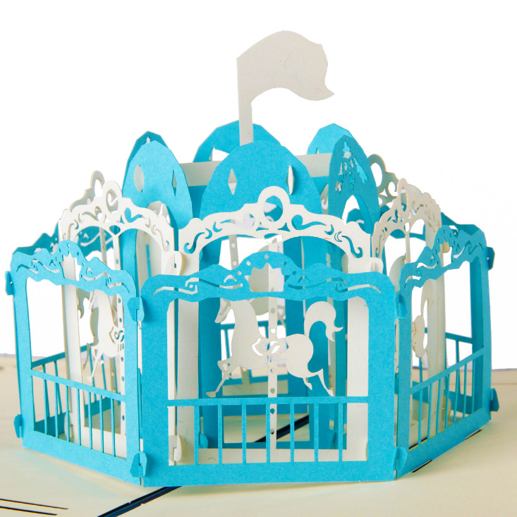 Exclusive Merry Go Round Artesanato Laser Cut Out 3D Pop