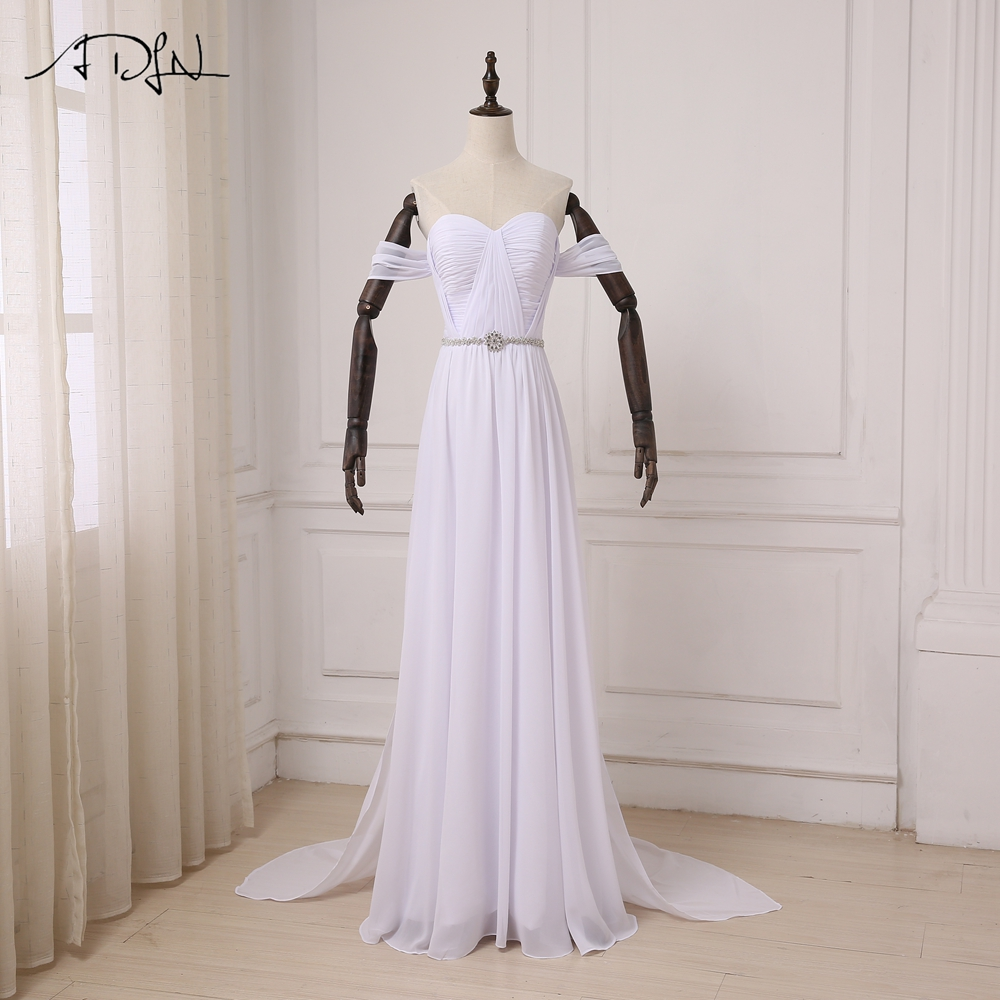 ADLN New Arrival Chiffon Beach Wedding Dresses Elegant Off-the-Shoulder Beaded Boho White Dress Bohemian Bridal Gowns