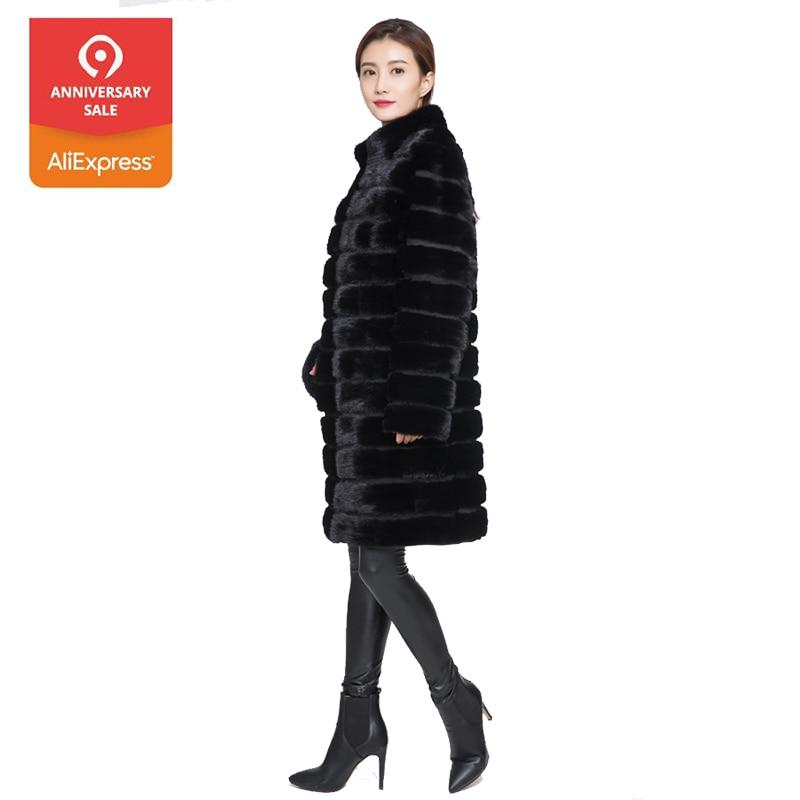 Huanhou della regina reale del visone cappotto di pelliccia per le donne, stile lungo, collare o con cappuccio, extra large plus size di inverno delle donne del rivestimento del cappotto