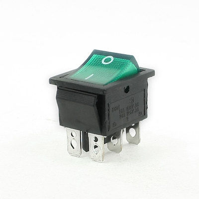 15A 250VAC 20A 125AC 2 Position 6 Pin Green Light ON/OFF DPDT Boat Rocker Switch KCD4-202N 5pcs ac250v 16a 125v 20a dpdt 6pin 2 position rocker switch w waterproof cover