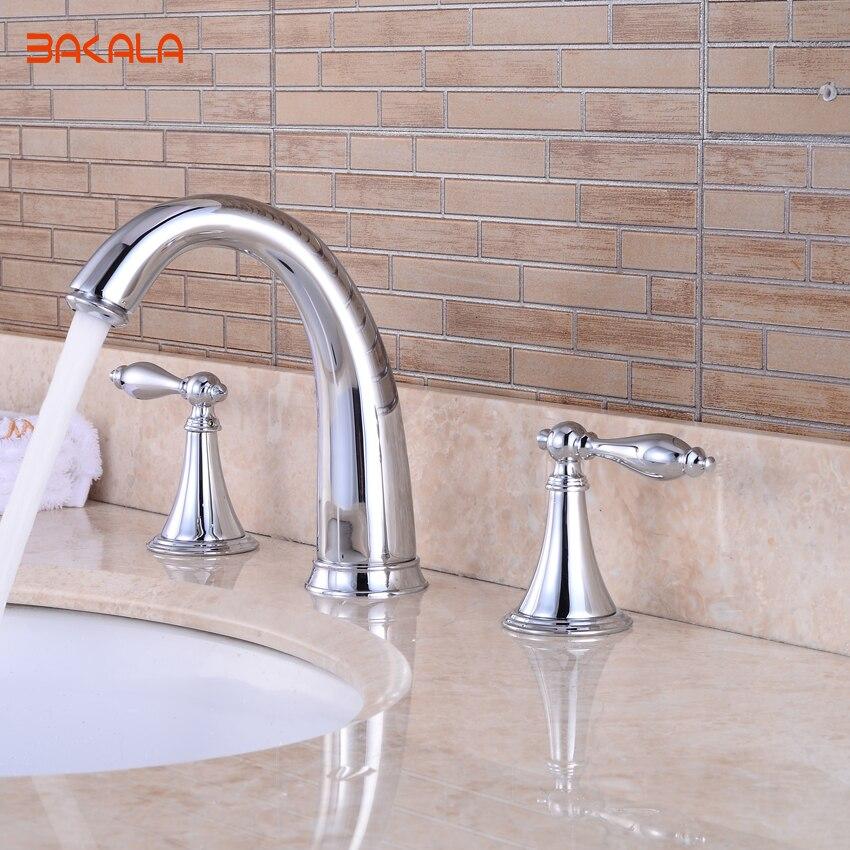 BAKALA Bath Shower Faucet Chrome Finished 3pcs Bathroom Torneira Taps Dual handle Basin Sink Rotatable Mixer BR-20173101