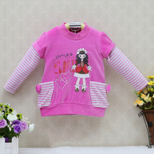 Little Q Baby Girls Long Sleeve Spring Velour O neck striped patchwork blouse children clothing for birthday party kids clothes
