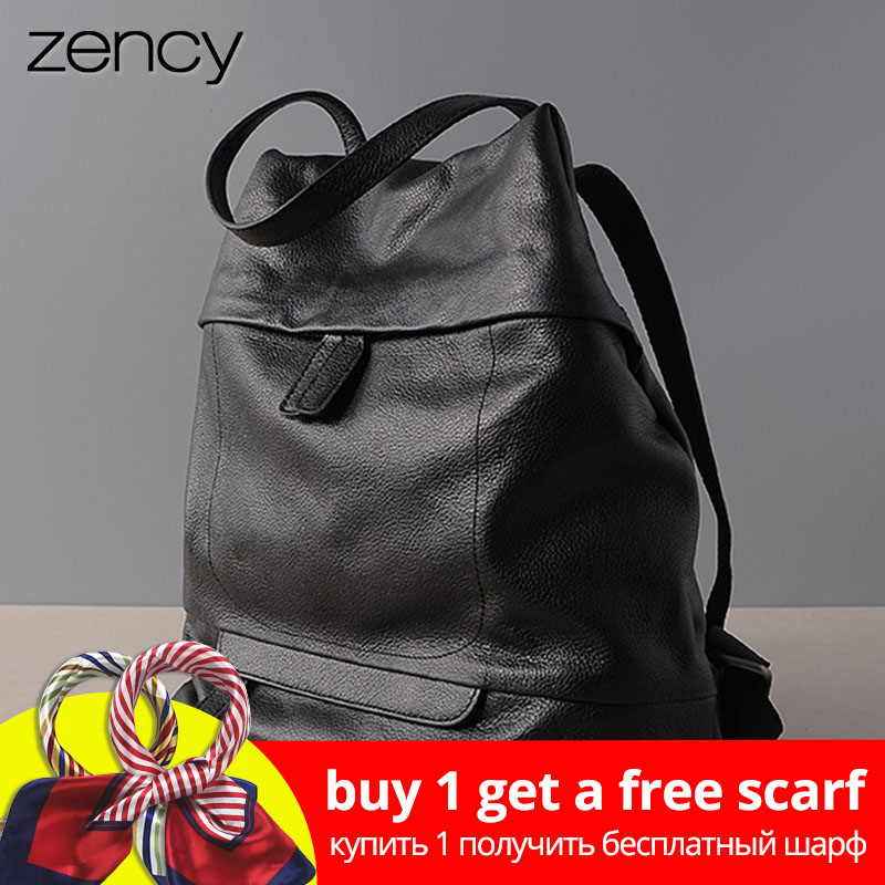 Zency Large Capacity Women Backpack Laptop 100% Genuine Leather Daily Holiday Knapsack Black Schoolbag Big Travel Bag Quality A+