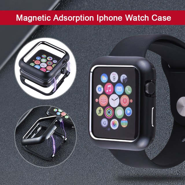 quality design 96cca 8f5b3 Magnetic Adsorption Aluminum Metal Watch Case for Apple Watch 4 3 2 1 38MM  42MM 40MM 44MM Cover for iWatch Magnet Bumper Shell
