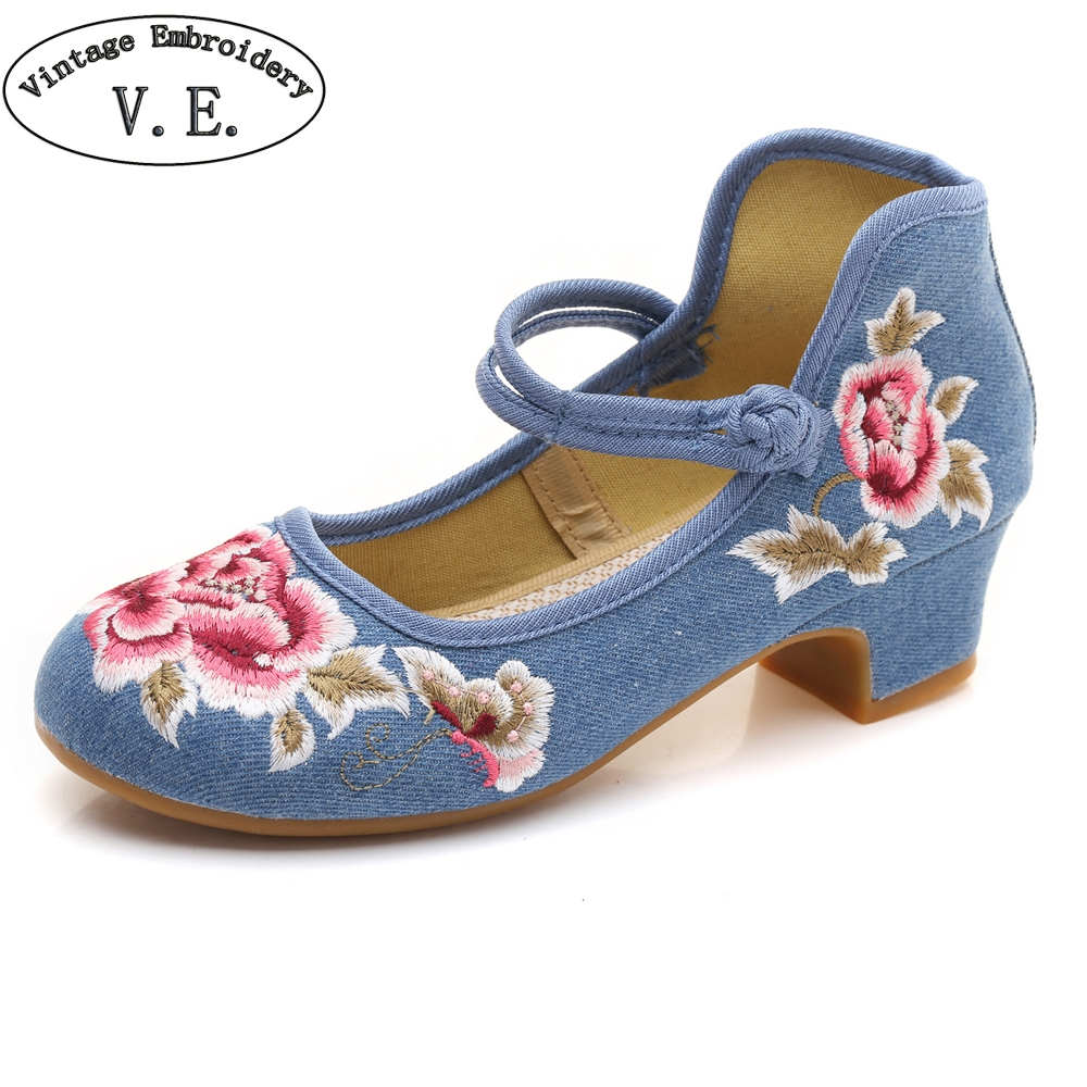 Vintage Embroidery Spring Autumn Women's Pumps Peony Embroidered Canvas Shoes Woman Ballet Latin Dancing Shoes For Girl vintage pumps spring autumn old beijing embroidery cloth shoes fairy girl embroidered national han chinese women s shoes