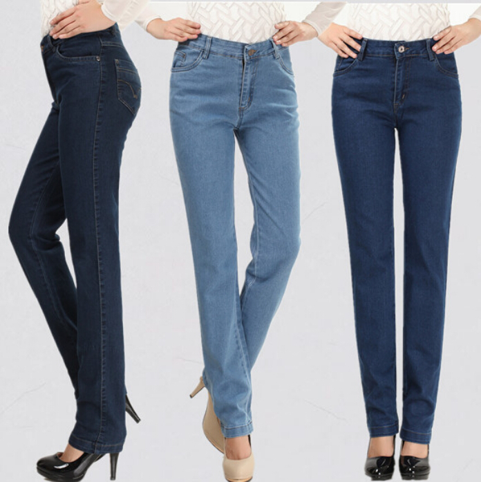 2017 new Women Pants Elegant Mother Denim Pants High Waist Jeans Straight Elastic Middle Age Plus