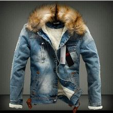 2018 Autumn and Winter Influx of Men Casual Denim Jacket Thick Retro Nagymaros Collar Cashmere Coat