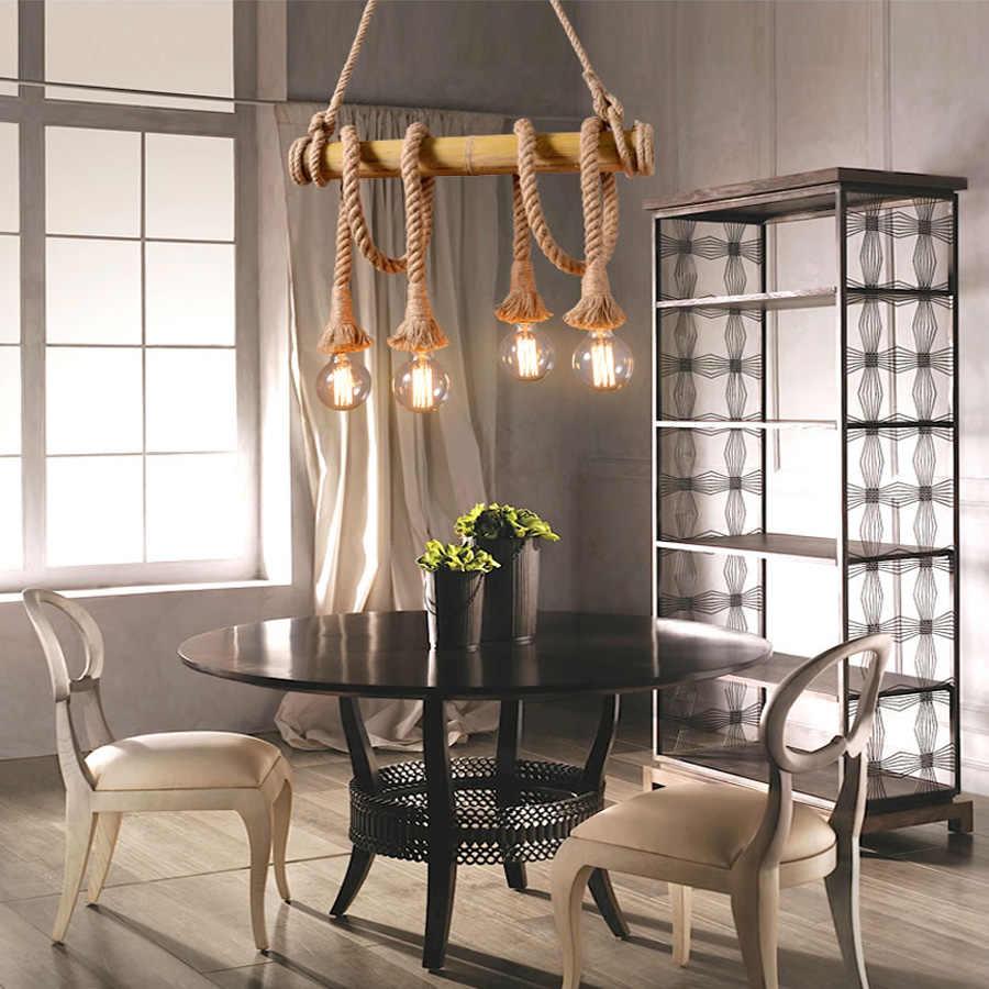 Винтажный подвесной светильник с пеньковой веревкой, промышленный стиль, классическое внутреннее освещение, лампа DIY для лампы Эдисона E27, веревочный светильник