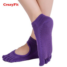 CrazyFit 2018 Neue Yoga Socken Fitness Baumwolle Zehensocken Professionelle Fünf Finger Anti-slip Frauen Rutschfeste Gym Pilates Sport Socken(China)