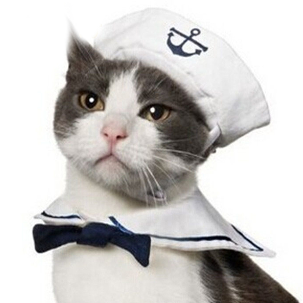 Adjustable Pet Dog Cat Sailor Clothing Tie Hat Navy Suits Costume Dress Up for Pet Party