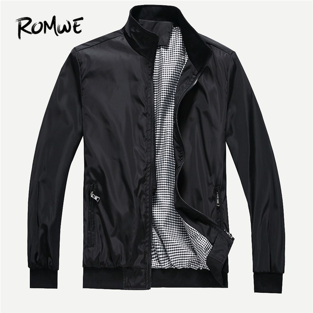 ROMWE Men Black Plain Zipper Jacket Mankind Casual Fall Funnel Neck Coats Long Sleeve Clothing Male Spring Outerwear