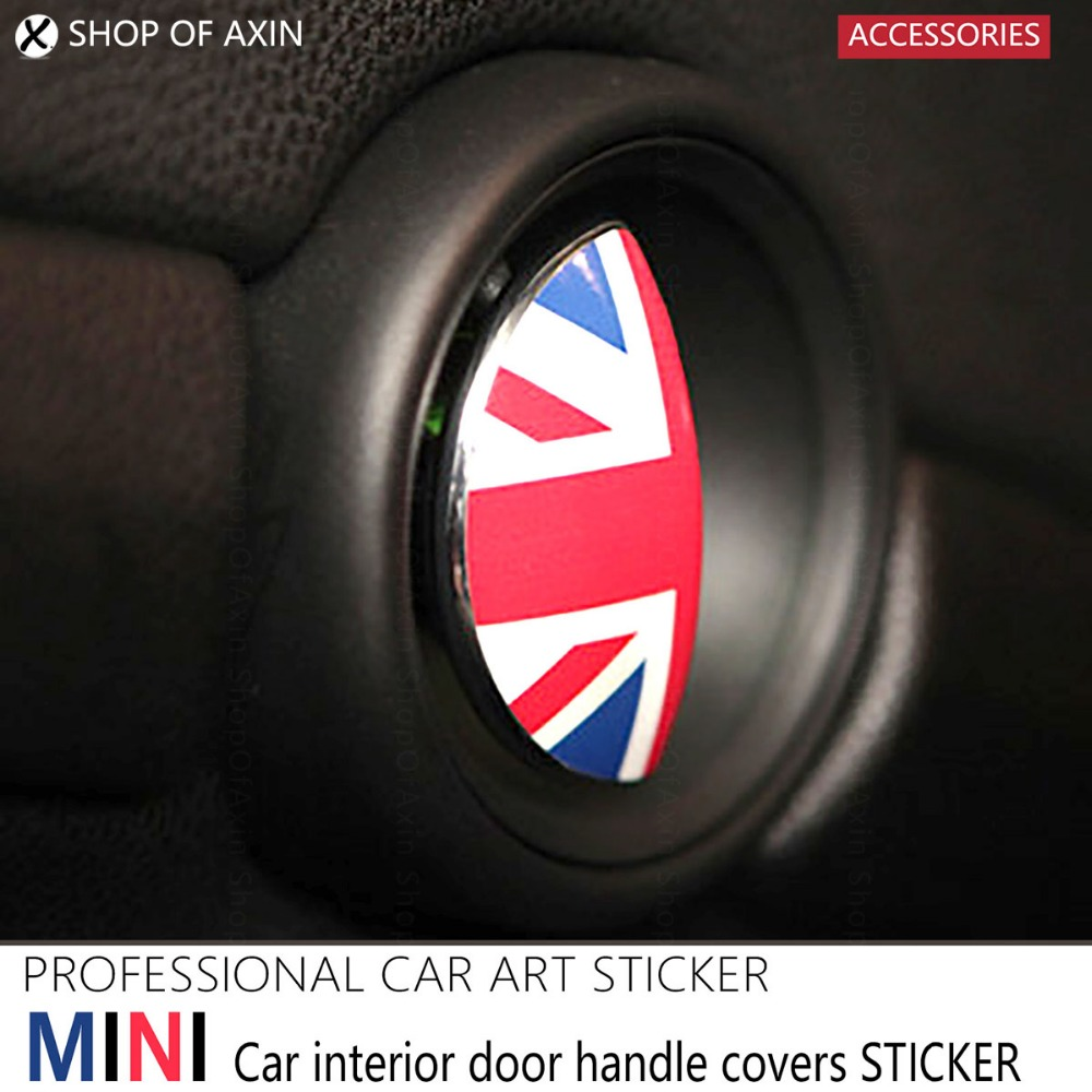 2pcs car interior door handle graphics stickers decal stickers for mini cooper clubman hardtop. Black Bedroom Furniture Sets. Home Design Ideas