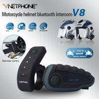 VNETPHONE หมวกกันน็อกชุดหูฟังรถจักรยานยนต์ Intercom Moto 1200 เมตร Bluetooth Interphone FM 5 คนพร้อมกัน Intercom V8